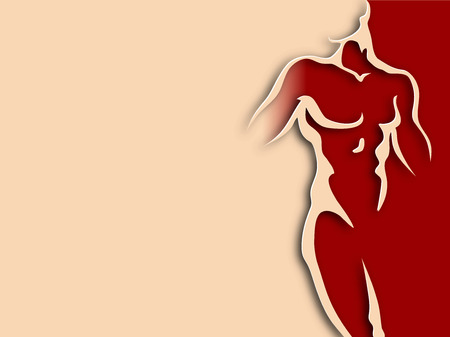 nudity: Man torso on red background. Paper design