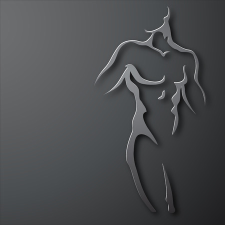 homme nu: Man torse sur fond gris. la conception de papier Illustration