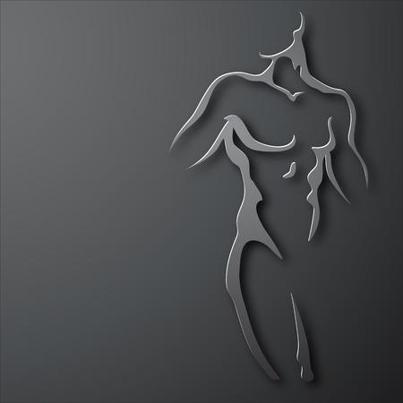 Man torso on gray background. Paper design Vettoriali