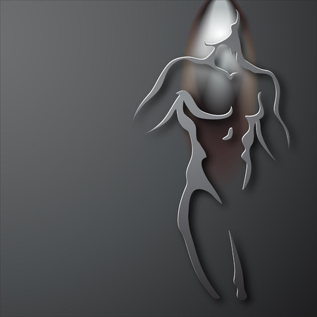 black breast: Man torso on gray background. Paper design Illustration