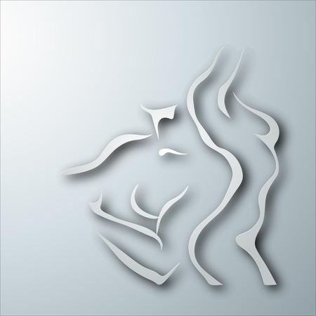 Femme et homme torse sur fond gris. la conception de papier Banque d'images - 40301655