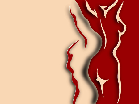 naked woman back: Woman and man torso on red background. Paper design