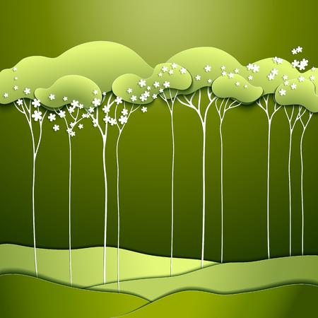 Zusammenfassung Frühjahr Papier Baum Mit Weißen Blüten Lizenzfrei ...