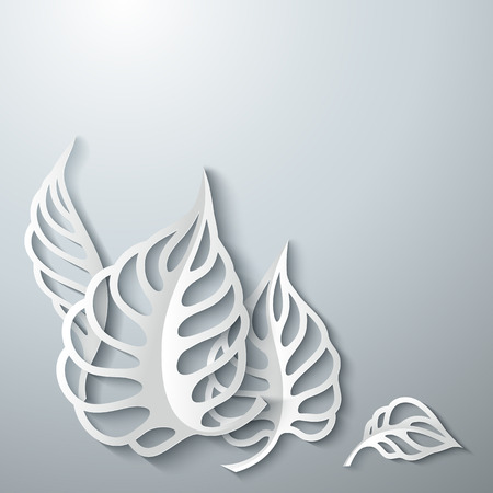 3 d illustrations: Paper design gray Leaves Background