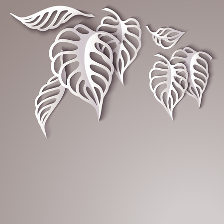 3 d illustration: Paper design gray Leaves Background
