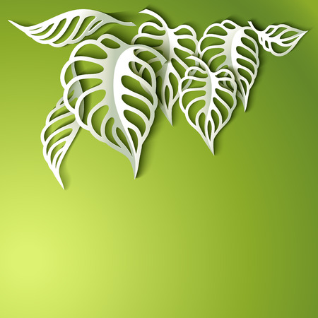 3 d illustrations: Paper design green Leaves Background