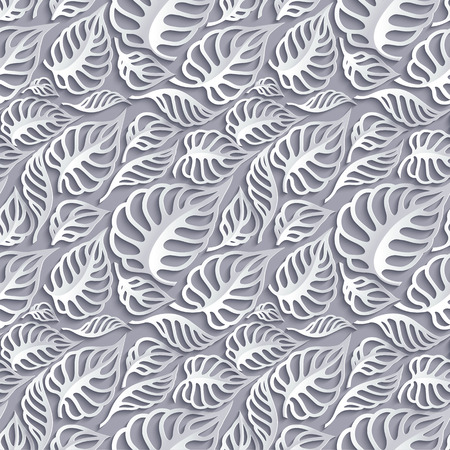 grey backgrounds: Vector Leaves 3d Seamless Pattern Background. Invitation cards decoration Illustration