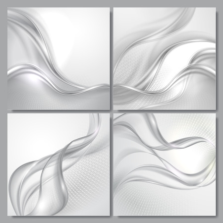 grey: Set of Abstract gray wave vector backgrounds Illustration