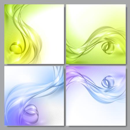 fondos azules: Conjunto de resumen de onda azul y verde vector backgrounds