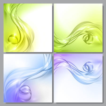 blue green: Set of Abstract blue and green wave vector backgrounds