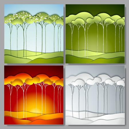 Set Abstracte vector papier bomen. Vier Jaargetijden