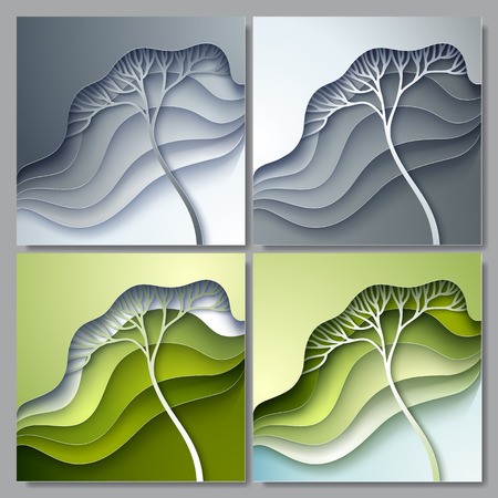 gradation: Set of Vector illustration with stylized tree in gradation of green and gray colors