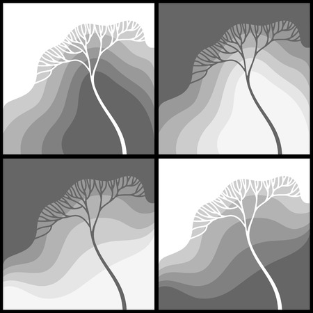 gradation: Set of illustrations with stylized tree in gradation of gray