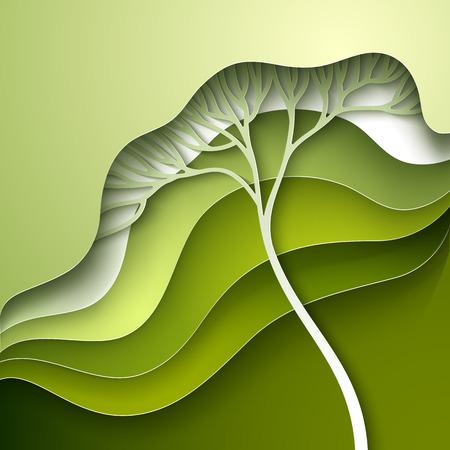 グリーンのグラデーションで様式化されたツリーとベクトル図