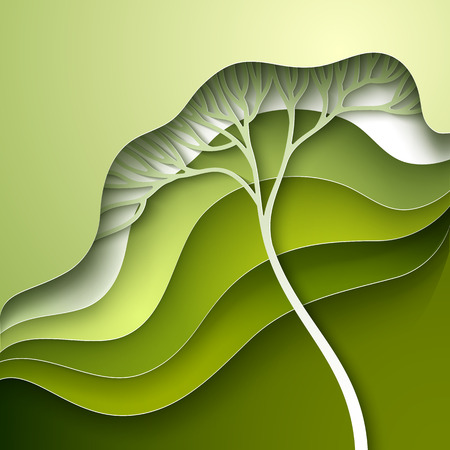 gradation: Vector illustration with stylized tree in gradation of green