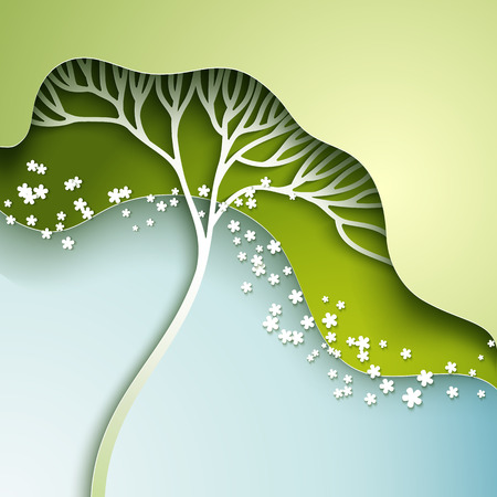 Vector illustration with stylized spring tree in gradation of green Stock Photo