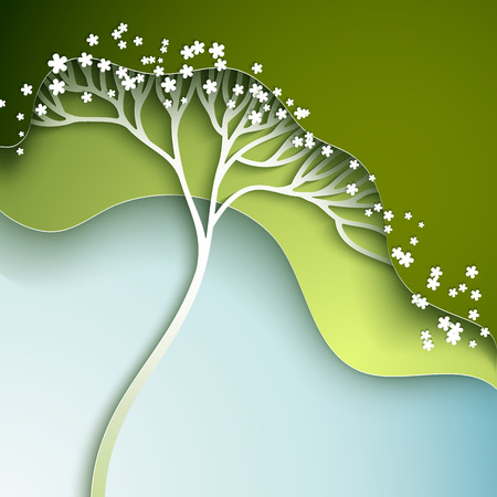 cut flowers: Vector illustration with stylized spring tree in gradation of green Stock Photo