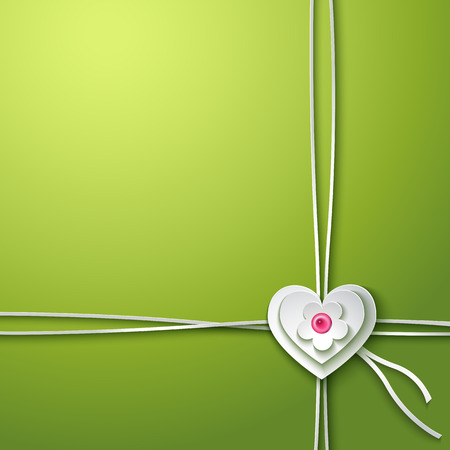 invitation background: Background with paper heart and flower. Invitation card. Vector