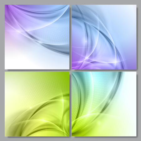 Set of Abstract green wave vector backgrounds