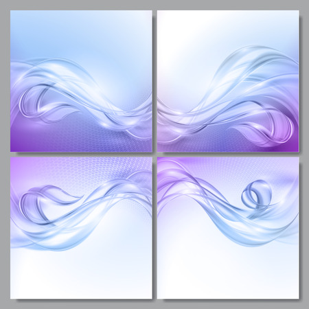 fondos azules: Set of Abstract blue purple wave vector backgrounds