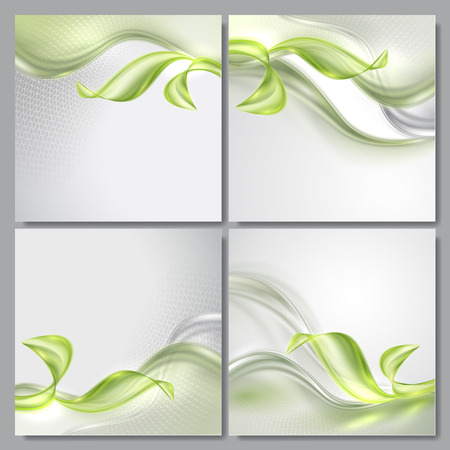 Set of Abstract wave spring green gray backgrounds