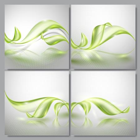 gray backgrounds: Conjunto de primavera abstracto ola verde fondos grises Vectores