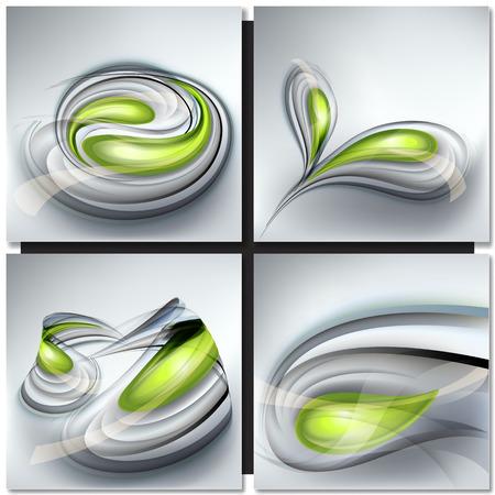 gray backgrounds: Conjunto de fondos abstractos grises con gotas verdes Vectores
