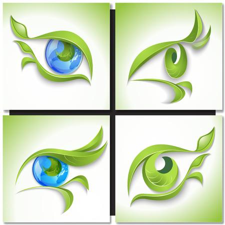 regard: Ensemble d'ic�nes �co. Regardez vert, oeil avec des feuilles vertes et bleu globe