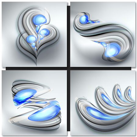blue waves: Set of abstract gray backgrounds with blue drops