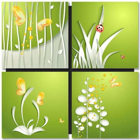 flowers summer: Set of abstract green backgrounds with paper flowers . Eco green concept, summer card