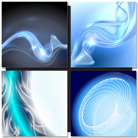 blue swirl: Set of Abstract blue swirl wave vector backgrounds Illustration