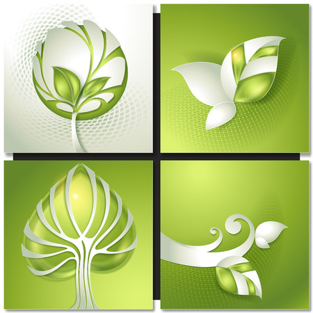 green plants: Set of abstract green backgrounds with paper tree . Eco green concept, spring, summer card