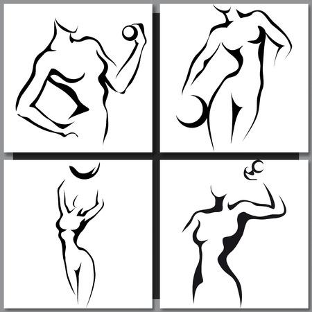 femme noire nue: Ensemble de Sketches dessinés à la main avec la femme sportive Illustration