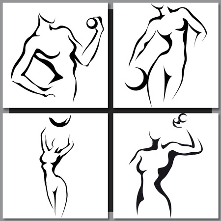 nude black woman: Set of Hand-drawn Sketches with sport woman