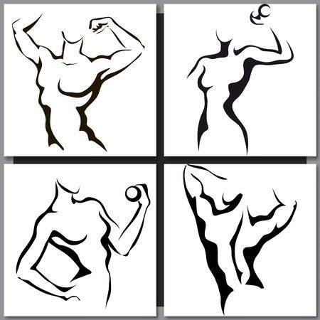 Set di schizzi disegnati a mano con l'uomo sportivo e la donna Archivio Fotografico - 41757854