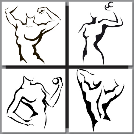 sexy nude women: Set of Hand-drawn Sketches with sport man and woman Illustration