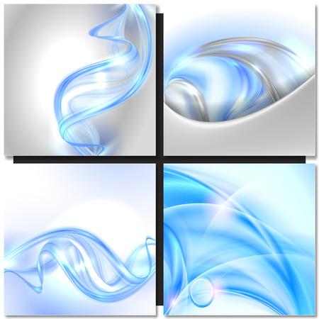 fondos azules: Conjunto de Abstract azul remolino de onda vectoriales antecedentes Vectores