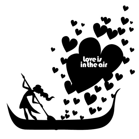 encouraging: Vector isolated typography design element for greeting cards and invitations. Hand drawn inspirational and encouraging quote. Girl in boat with hearts.