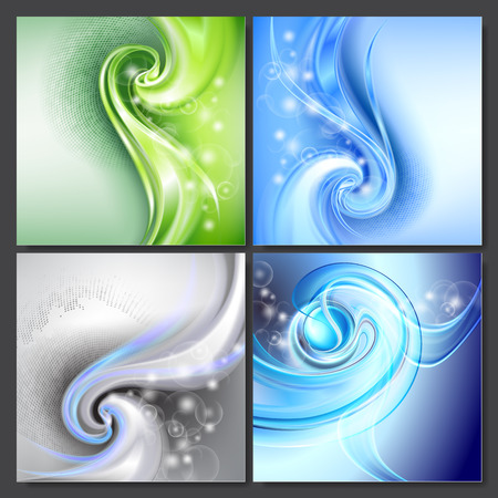green swirl: Set of Abstract blue green swirl wave vector backgrounds