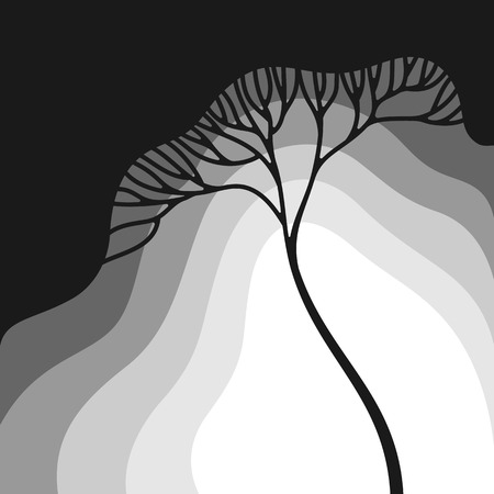 gradation: Illustration with stylized tree in gradation of gray colors