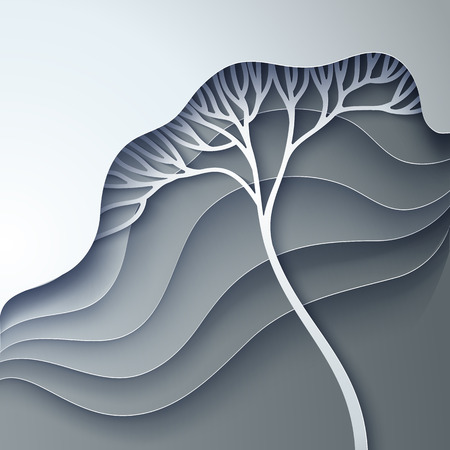 Vector illustration with stylized tree in gradation of gray Illustration