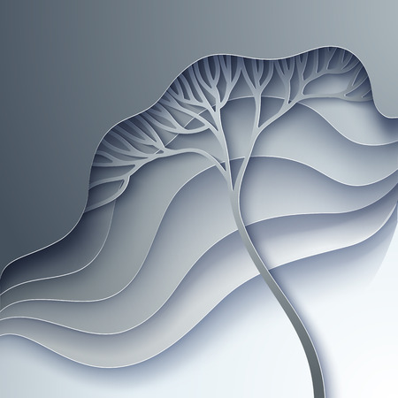 gradation: Vector illustration with stylized tree in gradation of gray Illustration