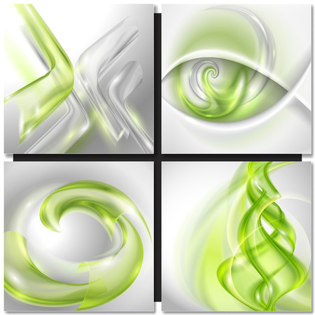 green swirl: Set of Abstract green swirl wave vector backgrounds