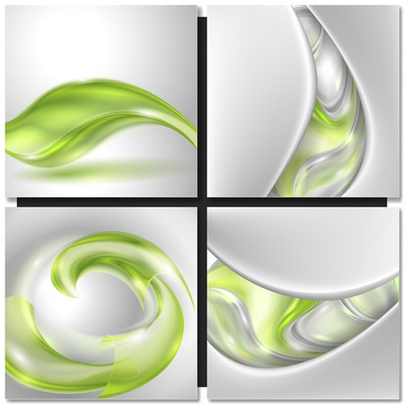 smooth: Set of Abstract green swirl wave vector backgrounds