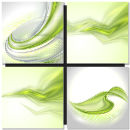 light effect: Set of Abstract green swirl wave vector backgrounds