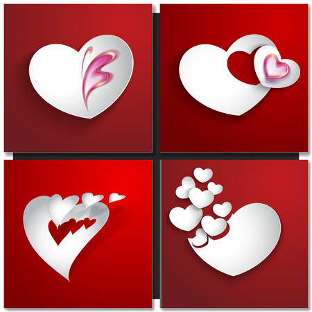 heart background: Valentines day abstract background with cut paper heart. Vector illustration