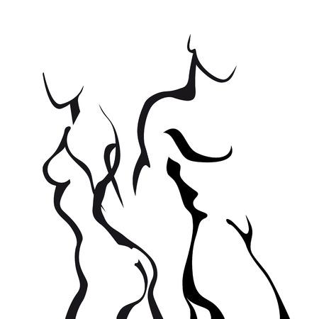 männer nackt: Abstrakte Skizze Paar in der Liebe. Frau und Mann Körper.