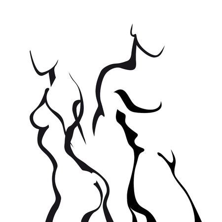 nude woman: Pareja boceto abstracto en el amor. Mujer y hombre cuerpo.