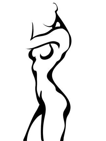 naked female body: Ink style Sketch of standing woman torso