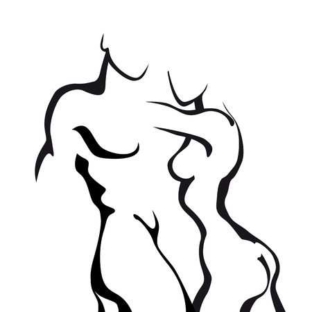 naked female: Abstract sketch couple in love. Woman and man body.